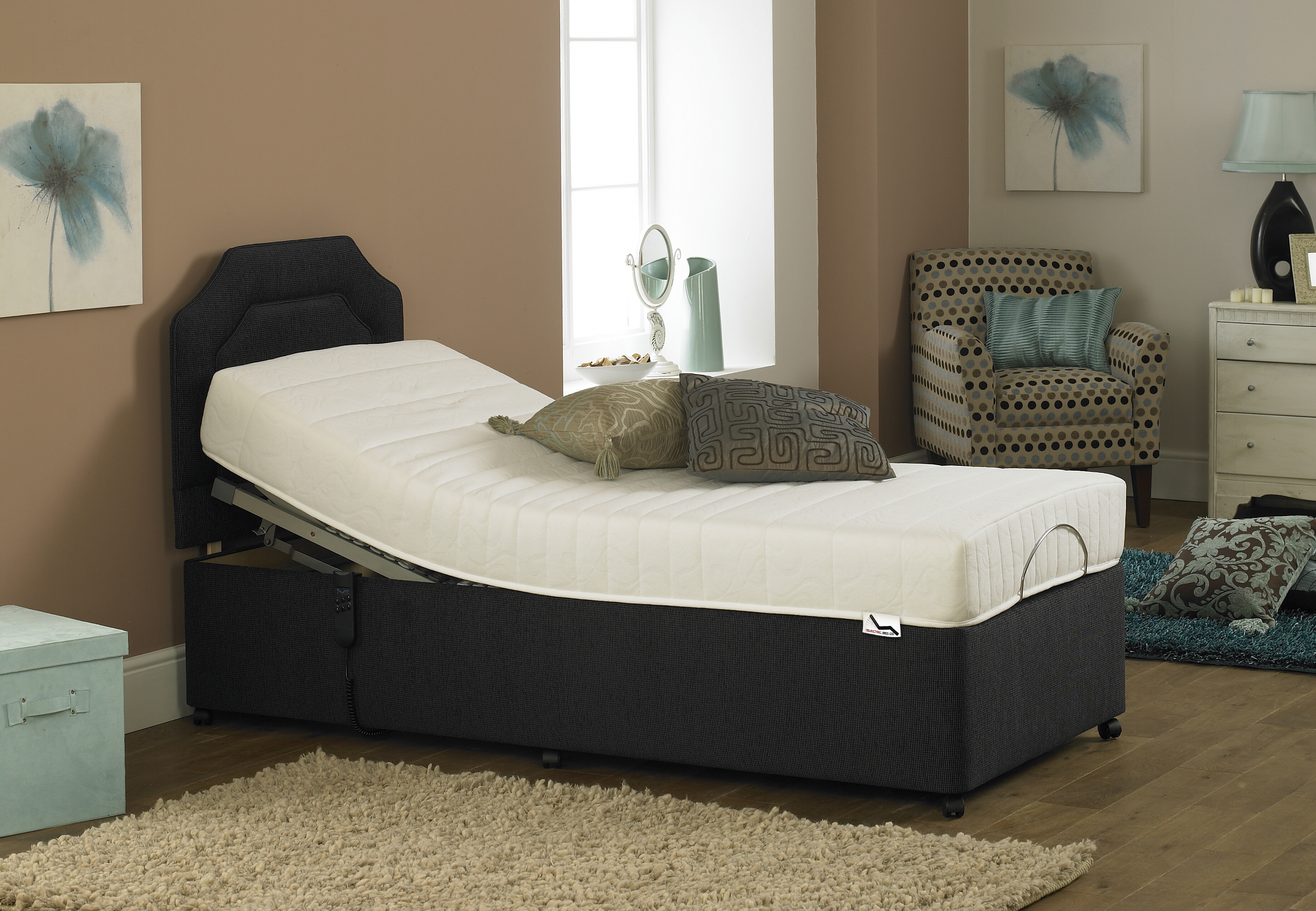 Electric Adjustable Bed with Black Base Colour